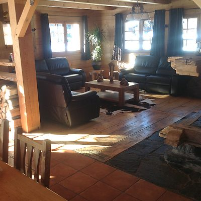 alpine chalet lounge with leather sofas