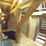 chalet landing with big wooden beams