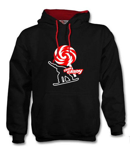 snow candy hoodie front black