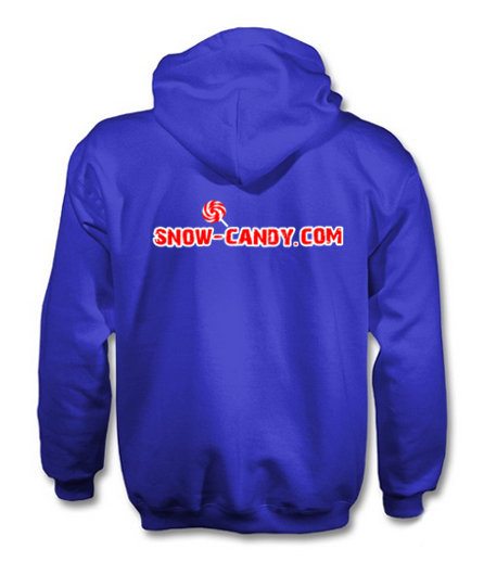 snow candy hoodie back blue