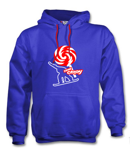 snow candy hoodie front blue