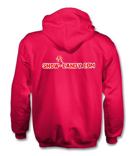 snow candy hoodie back pink