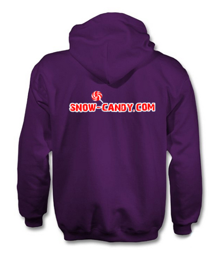 snow candy hoodie back purple