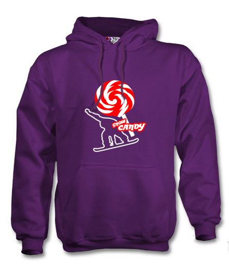 snow candy hoodie front purple