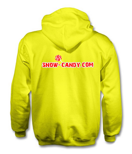 snow candy hoodie back yellow