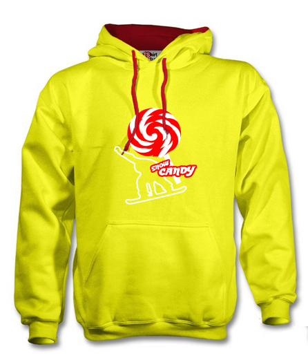 snow candy hoodie front yellow