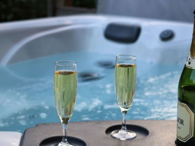 chalet holiday morzine competition with hot tub and champagne glasses