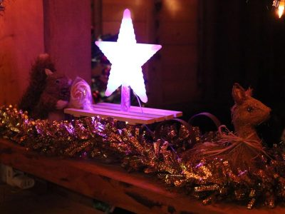 christmas star light in ski chalet morzine