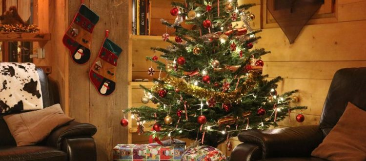 ski chalet christmas tree with presents
