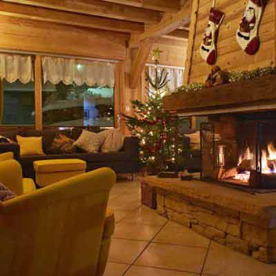 catered chalet morzine open fire and christmas tree