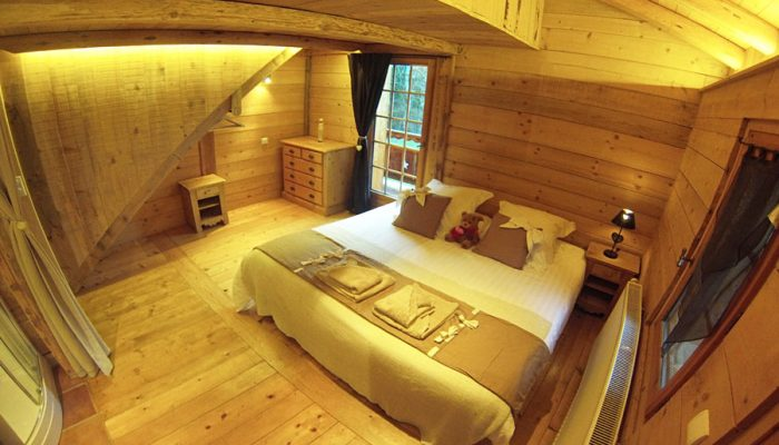 luxury ski chalet double bedroom traditional alpine wood