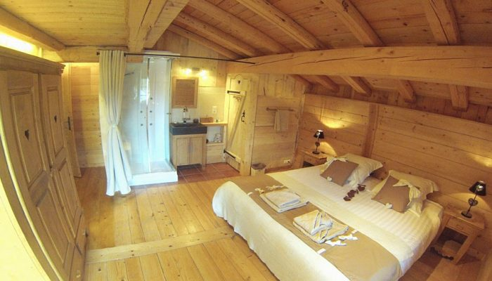 luxury ski chalet bedroom with ensuite
