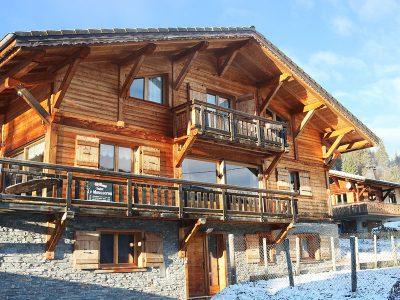 luxury ski chalet in morzine with blue sky