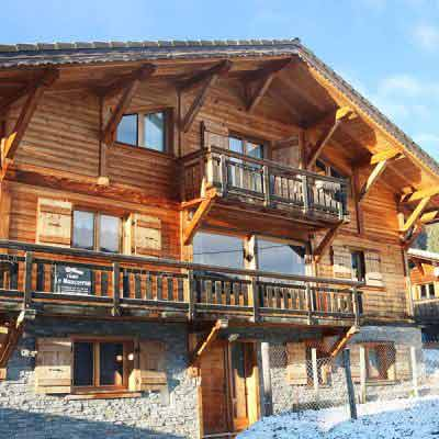 luxury ski chalet in morzine with blue sky