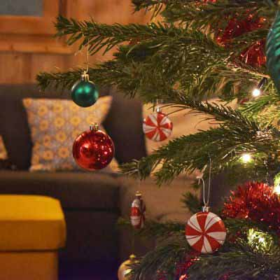 chalet morzine christmas tree with candy ball balls