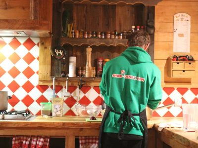 catered chalet staff in kitchen